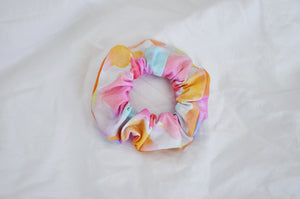 Peachy Pink Crescent Moon & Stars Scrunchie