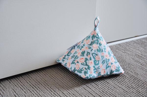 Roses On Misty Blue Door Stop Cover