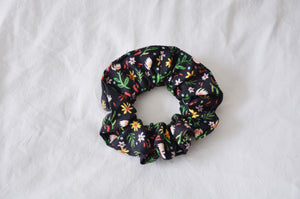 Black Disty Floral Scrunchie