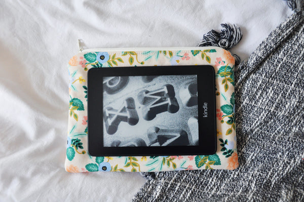 Beige Birch Floral Kindle Pouch