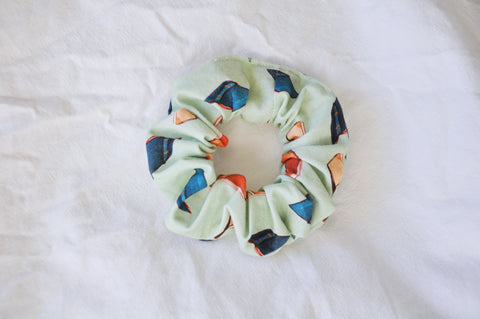 Scattered Books Mint Scrunchie