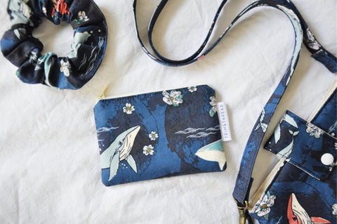Navy Whales Coin Pouch