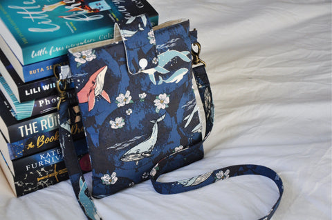 Navy Whales Book Bag