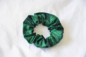 Silver Snow On Green Scrunchie