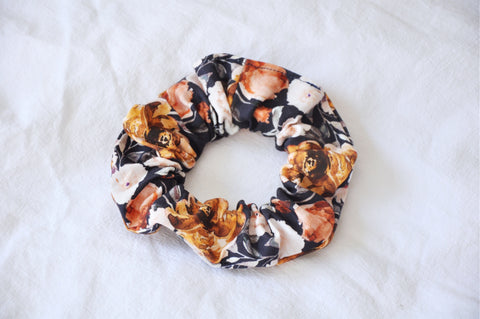 Navy Autumn Peonies Scrunchie
