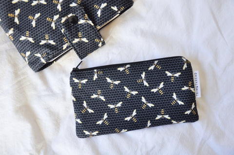 Black Bees Zipper Pouch