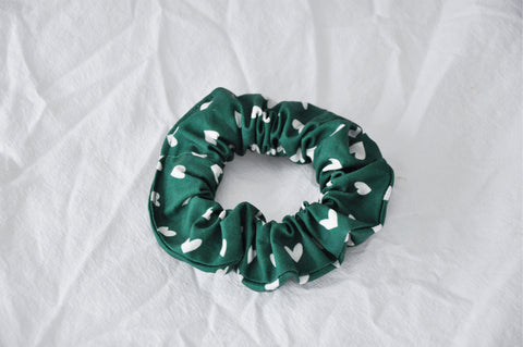 Green Hearts Scrunchie