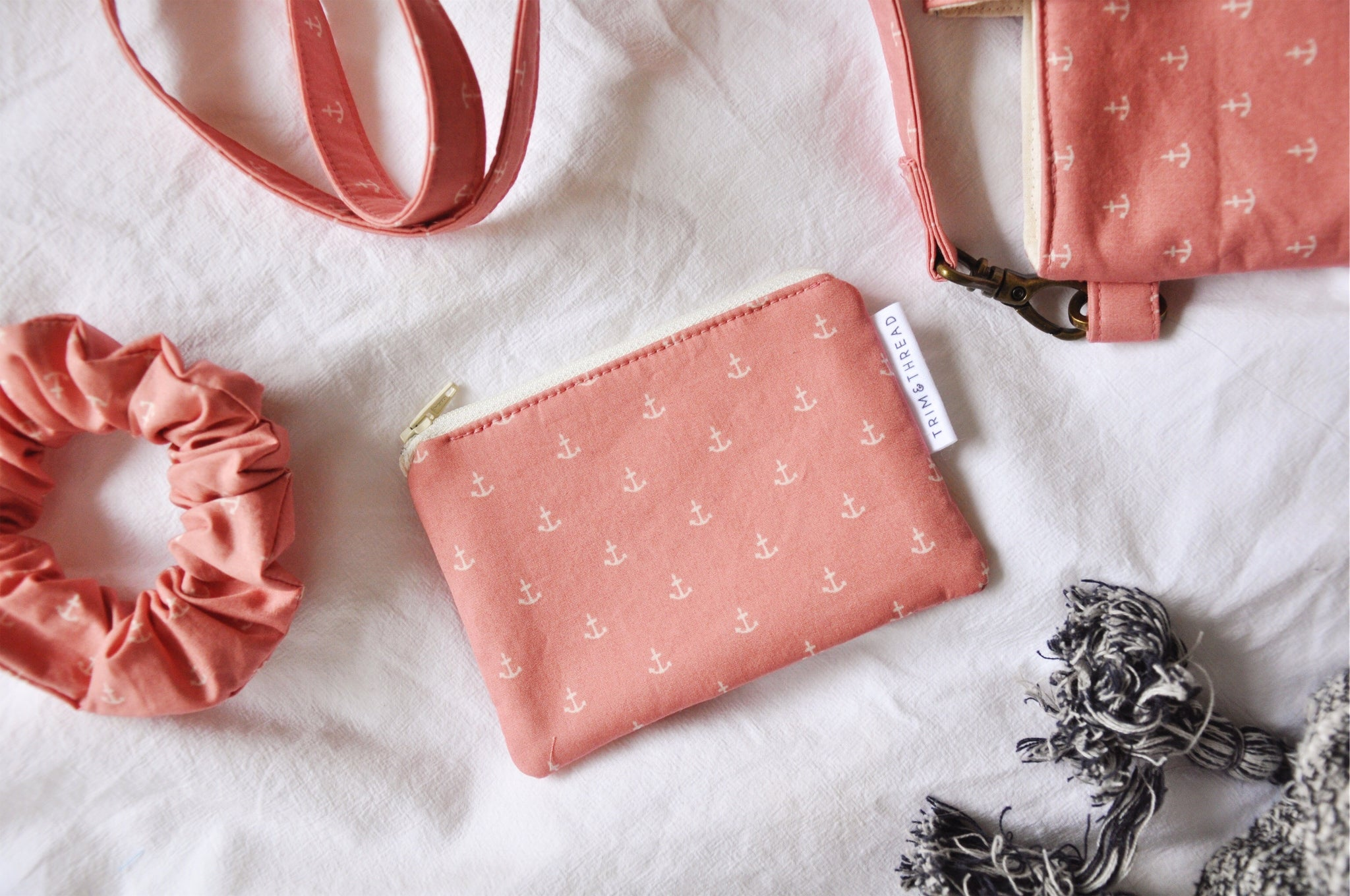 Anchors Blush Coin Pouch