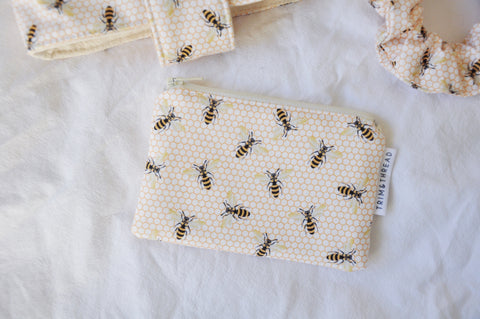 White Bees Coin Pouch