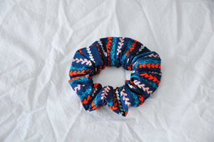 Navy Striped Hearts Scrunchie