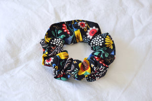 Black Floral Toss Scrunchie