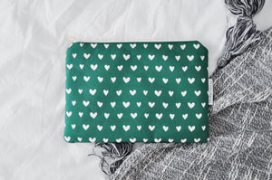 Green Hearts Kindle Pouch