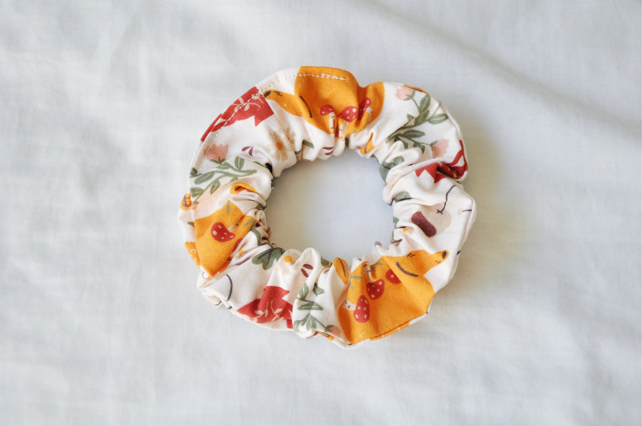 Flowery Books & Tea Scrunchie