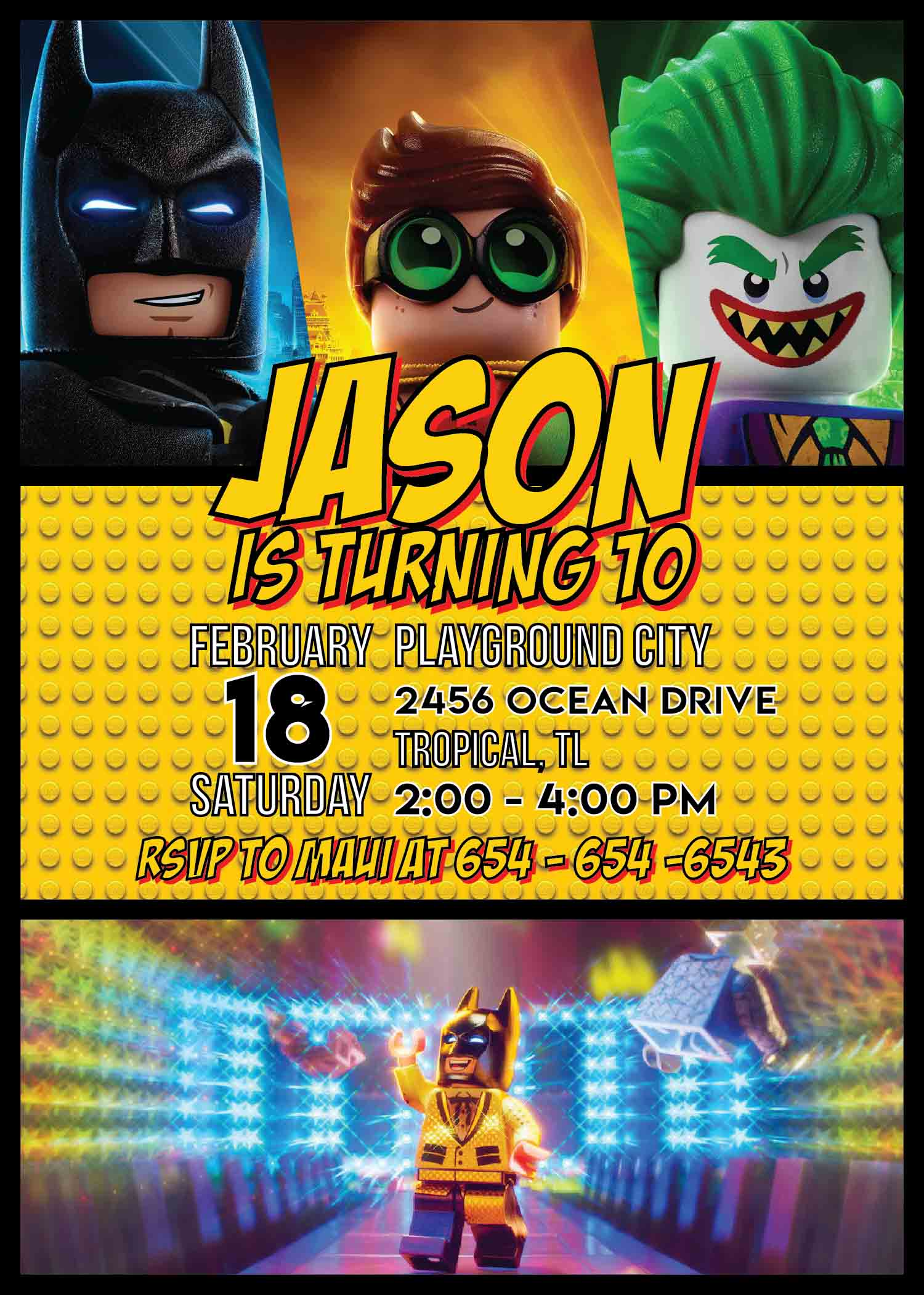 Lego Batman Party Invitation Template | Printable Birthday ...