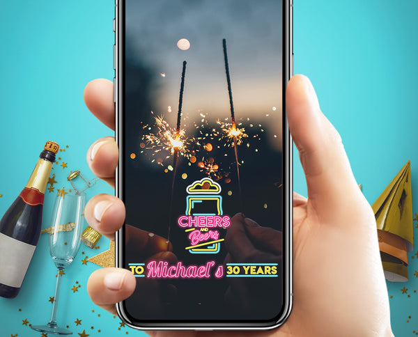 Cheers & Beers Neon Birthday Snapchat Filter