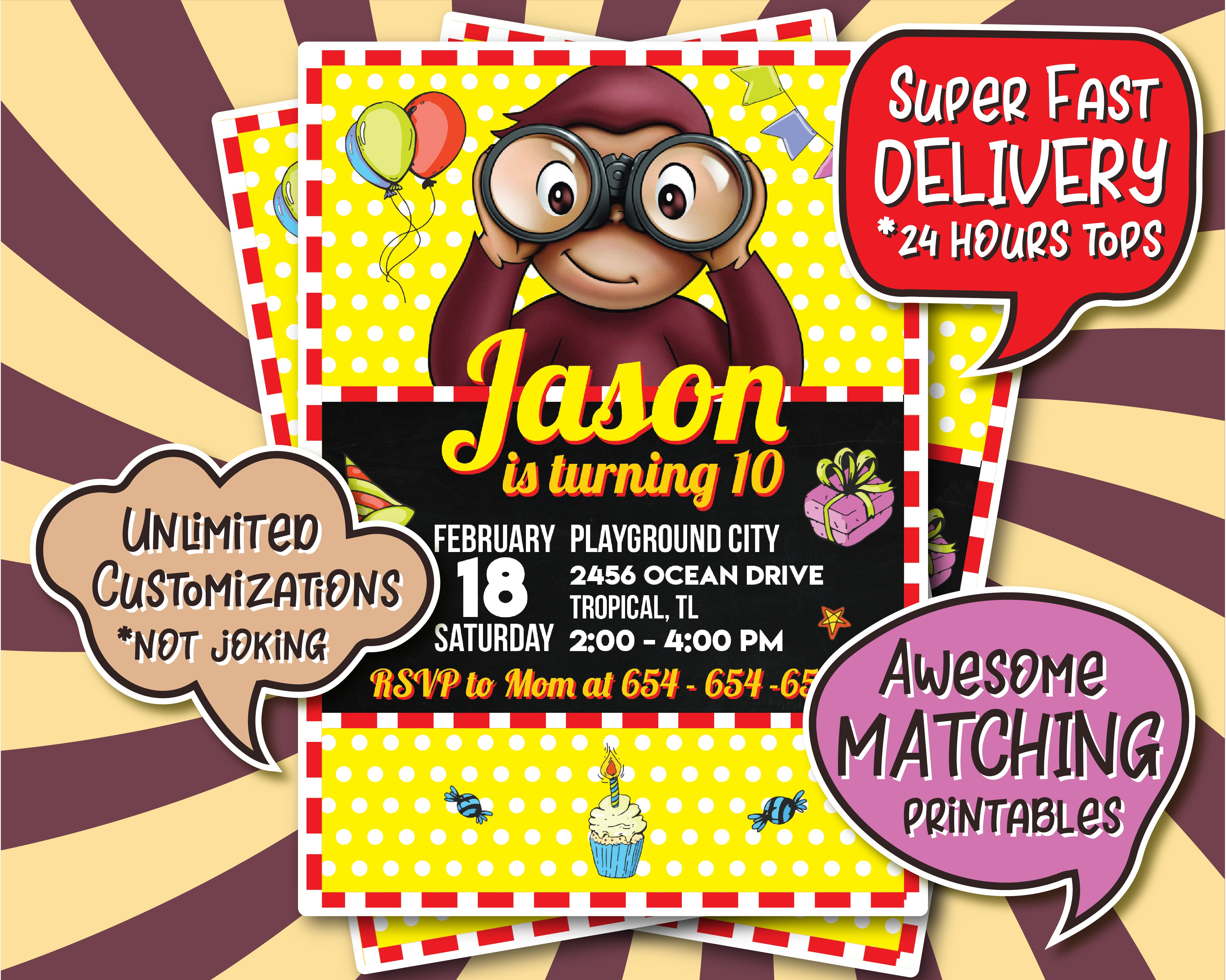 Personalized Curious George Party Invitations | Birthday Prints