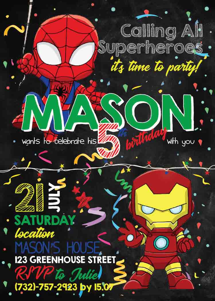Spiderman Invitation Template Avengers Party Superhero Birthday