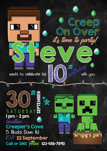 Minecraft Invitation Template