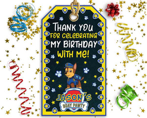 Paw Patrol Favor Tags