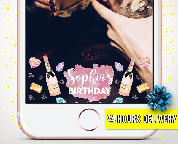 Champagne & Diamonds Birthday Snapchat Geofilter