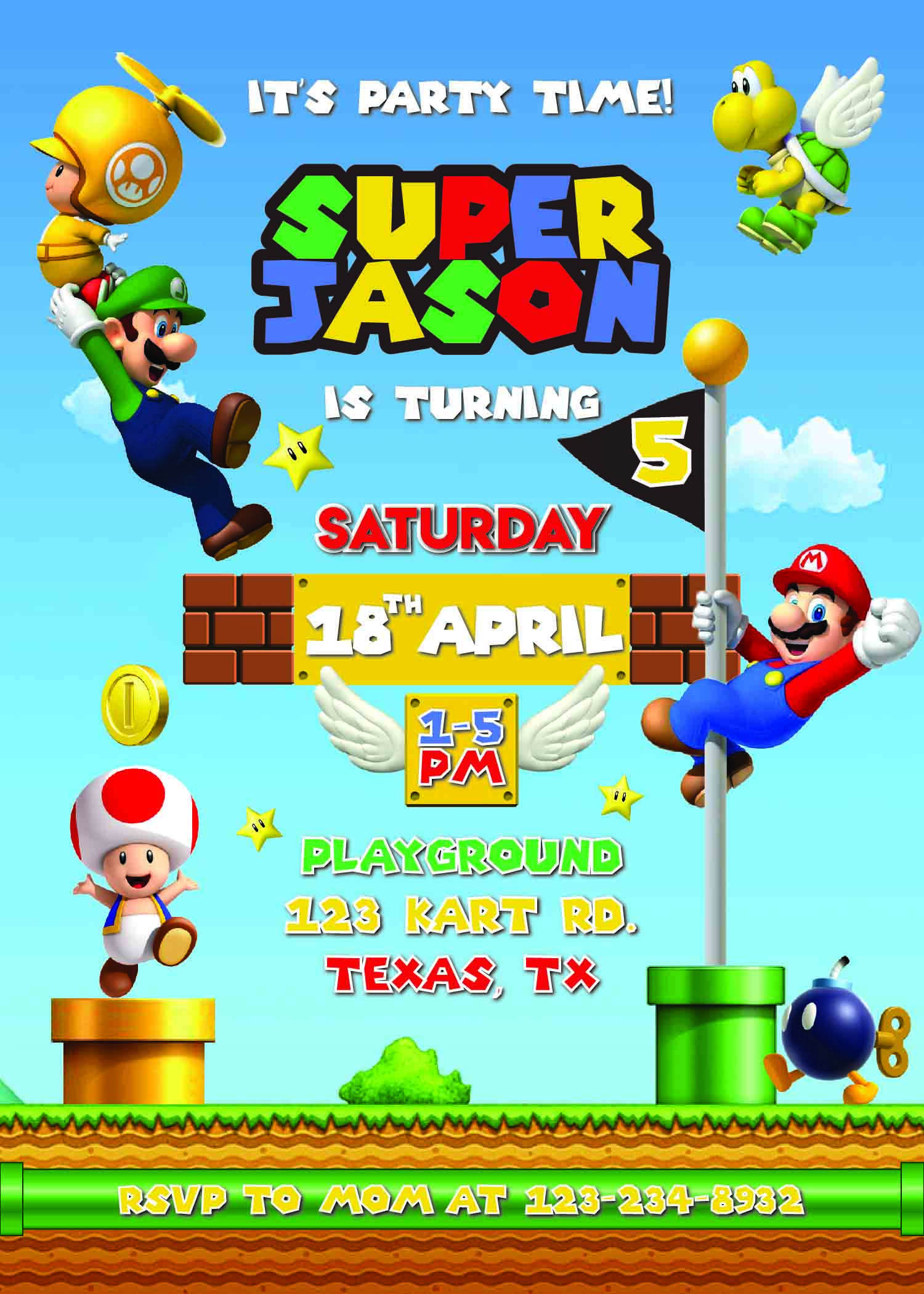 Super Mario Bros Invitation Template Printable Birthday Invitation