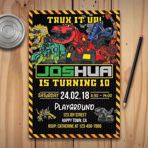 Dinotrux Party Invitations