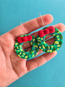 Statement Christmas Wreath Dangles