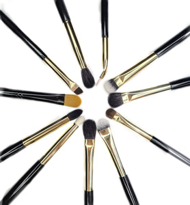 11PC Blenders Brush Set + The Cut Crease PRO + Cosmetic Clutch