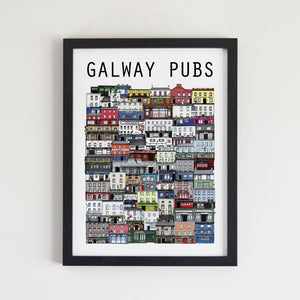 Galways pubs, pub print, Galway city pubs, Irish pubs, Irish art, Irish print