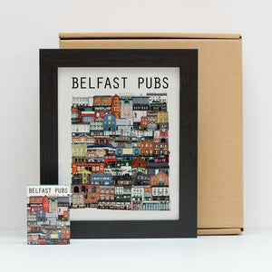 Belfast pubs, framed print, Belfast art, playing cards,