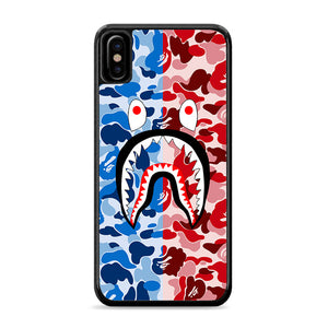 Bape Camo Shark Face Blue Red iPhone Xs Case | Caserisa