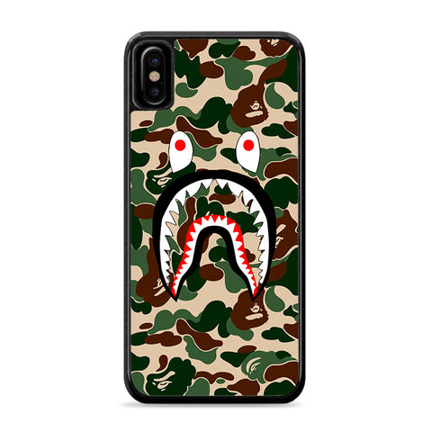 Bape Camo Shark Face Green iPhone Xs Case | Caserisa