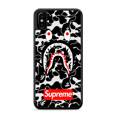 Bape Camo Shark Face Logo Black iPhone Xs Case | Caserisa