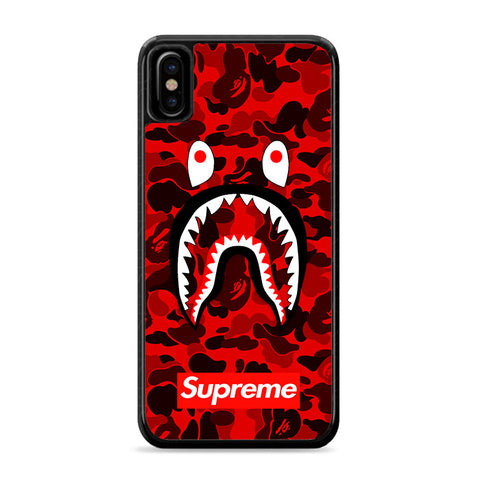 Bape Camo Shark Face Logo Red iPhone Xs Case | Caserisa