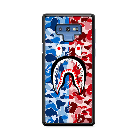 Bape Camo Shark Face Blue Red Samsung Galaxy Note 9 Case | Caserisa