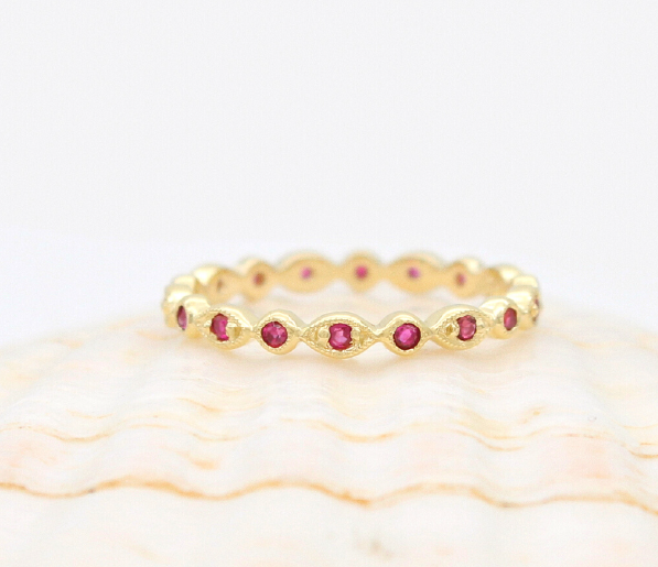Ruby eternity ring dainty antique style yellow gold wedding band