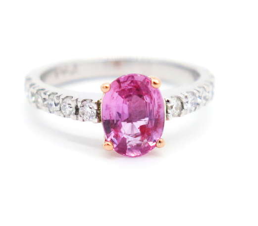 Pink Sapphire Oval Ring rose gold white gold diamonds pave set engagement ring