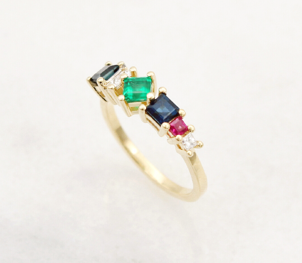 Ruby Sapphire Diamond emerald cluster ring yellow gold claw setting unique hand made