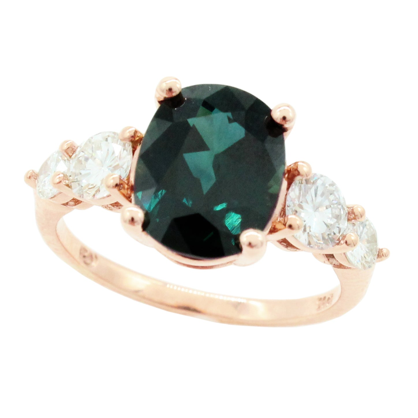 Peacock teal oval sapphire rose gold diamonds engagement ring claw setting