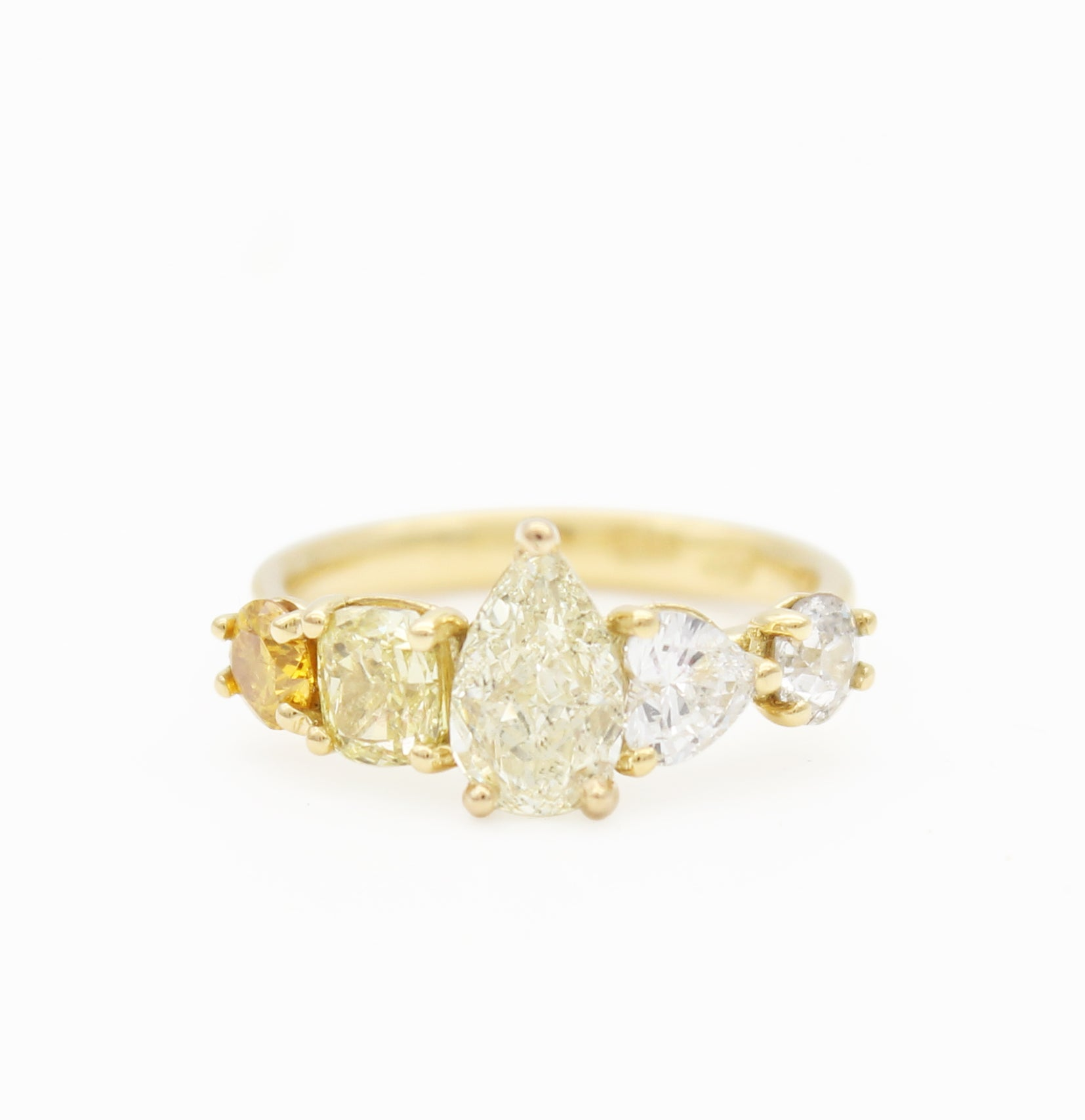 Fancy Yellow pear cushion heart diamond ombre yellow gold engagement ring