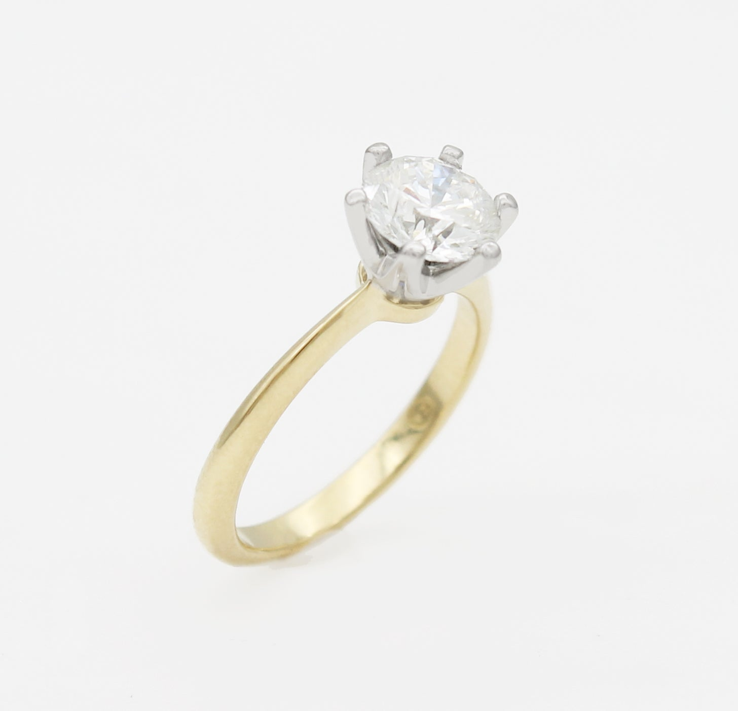 solitaire engagement ring crown setting yellow white gold claw round handmade