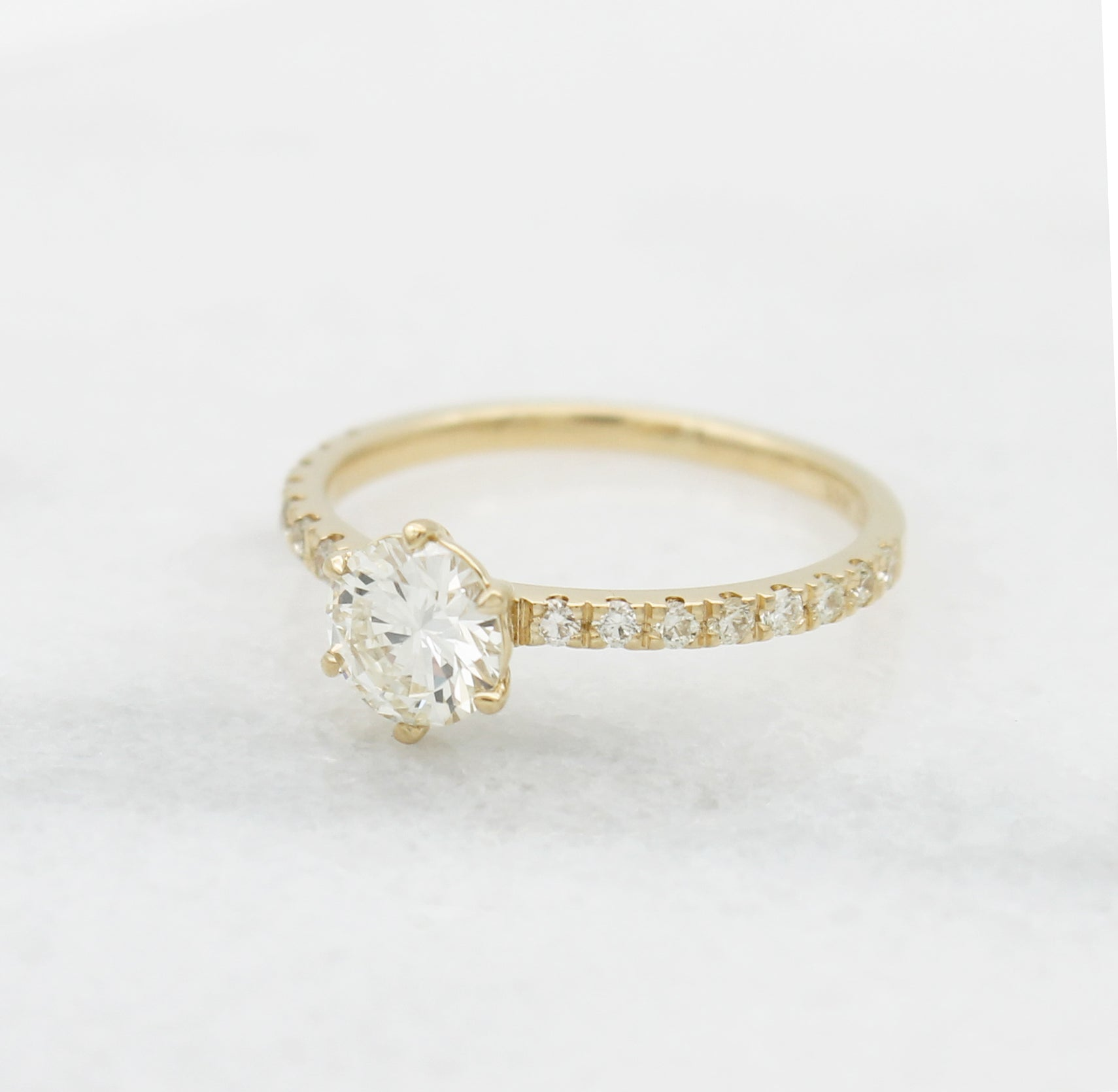 Round Diamond engagement ring pave set solitaire dainty yellow gold 18K