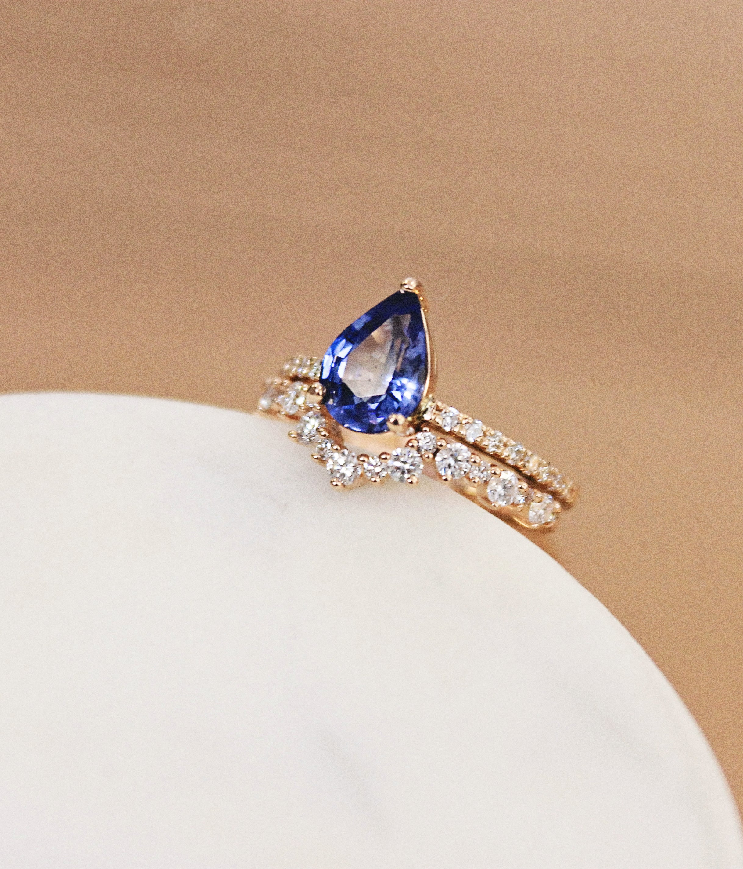 Sapphire pear shape rose gold cluster diamond halo eternity ring engagement wedding band fitted  claw setting