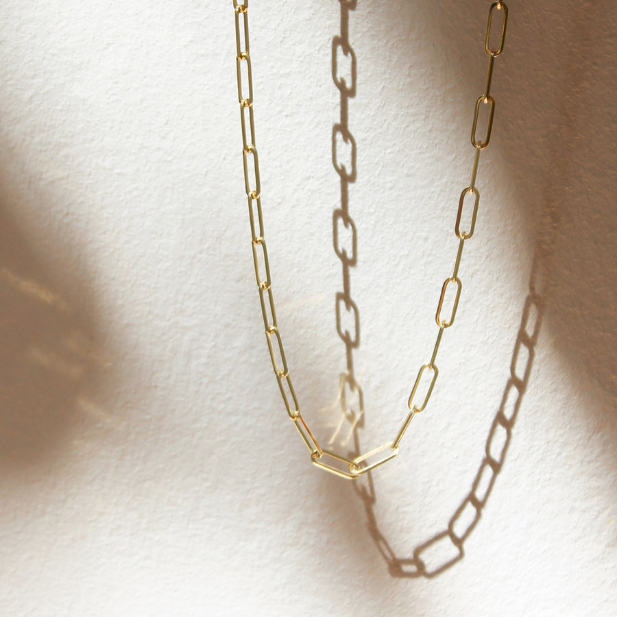 Solid Gold Paperclip Chain