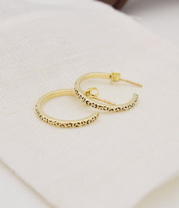 9ct Yellow Gold Spotty Hoops