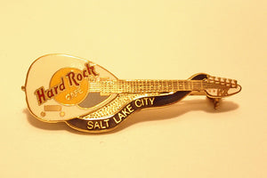 Salt Lake City Dead Rocker Brian Jones Styled White Vox Guitar Hard Rock Cafe pin Collectible-Very Good B 19-001