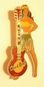 KONA Black haired girl in grass skirt red Les Paul B15-100 Logo - Hard Rock 98
