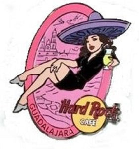 Guadalajara 2003 B 5-17578  Oval pin with girl - in black uniform lounging with yellow Hurricane