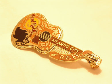 ATLANTIC CITY gold dead Rocker Buddy Holly acoustic Guitar B17-190 Hard rock pin Collectible-Very Good Hard Rock