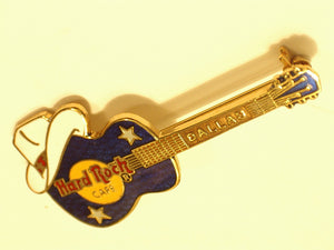 DALLAS PIN GUITAR WITH COWBOY HAT Hard Rock Cafe enamel pin Logo Back B 16 -255